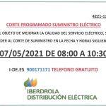CORTE PROGRAMADO SUMINISTRO ELÉCTRICO. Día 7 de mayo de 2021